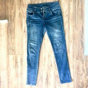 ARDEN B Wide Belt Waist Skinny Jeans
